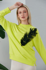 WOW Sweatshirt Neon Green With Feather