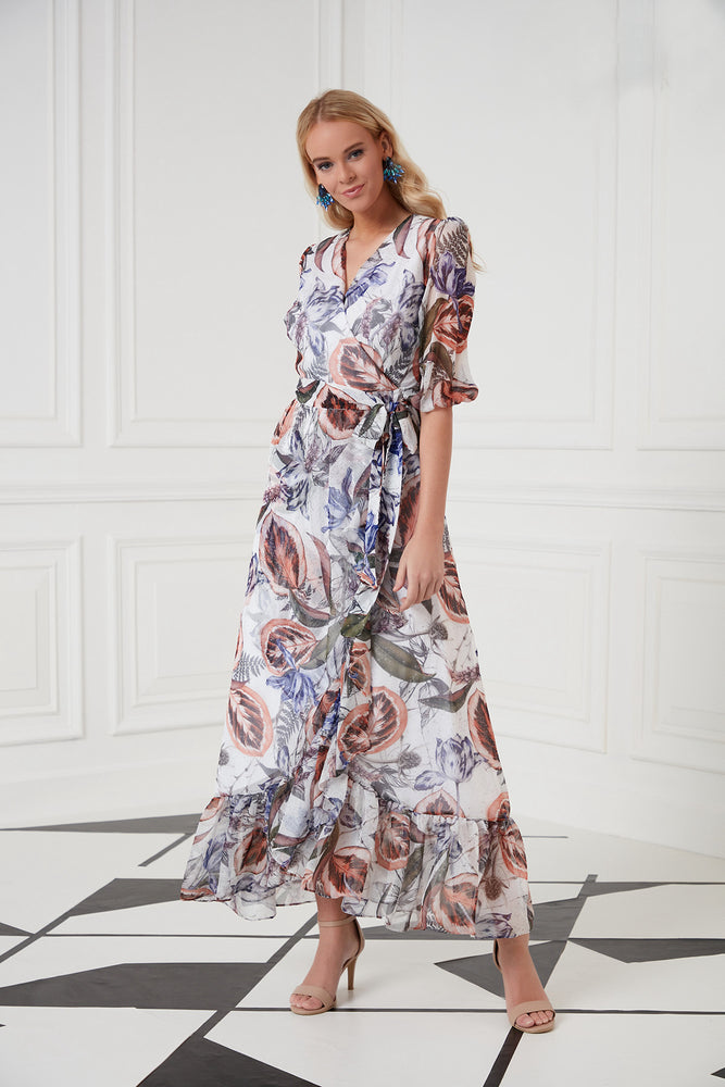 Wrap Front Maxi Dress In Blue Floral Print - Vercia Fashion Group