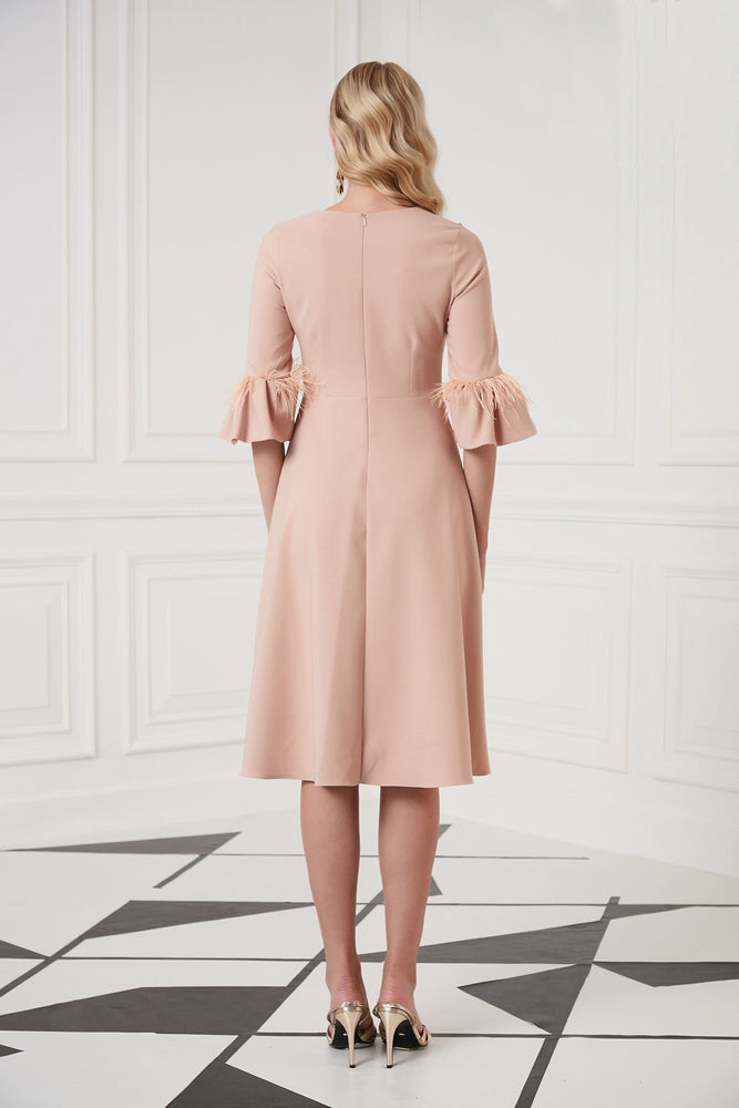 Midi Occasion Dress In Blush Pink - Vercia Fashion Group