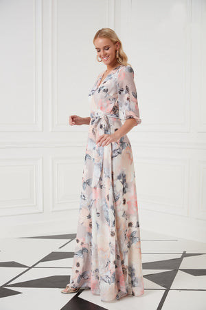 Wrap Front Frilled Maxi Dress In Pink Print - Vercia Fashion Group