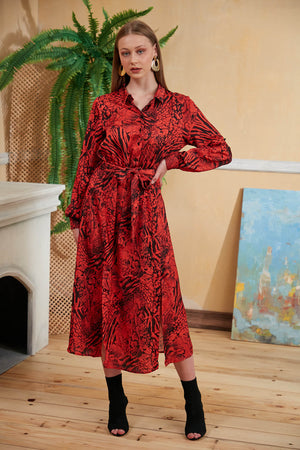 Load image into Gallery viewer, Valeria Animal Print Midi Shirt Dress in Red - Vercia Fashion Group