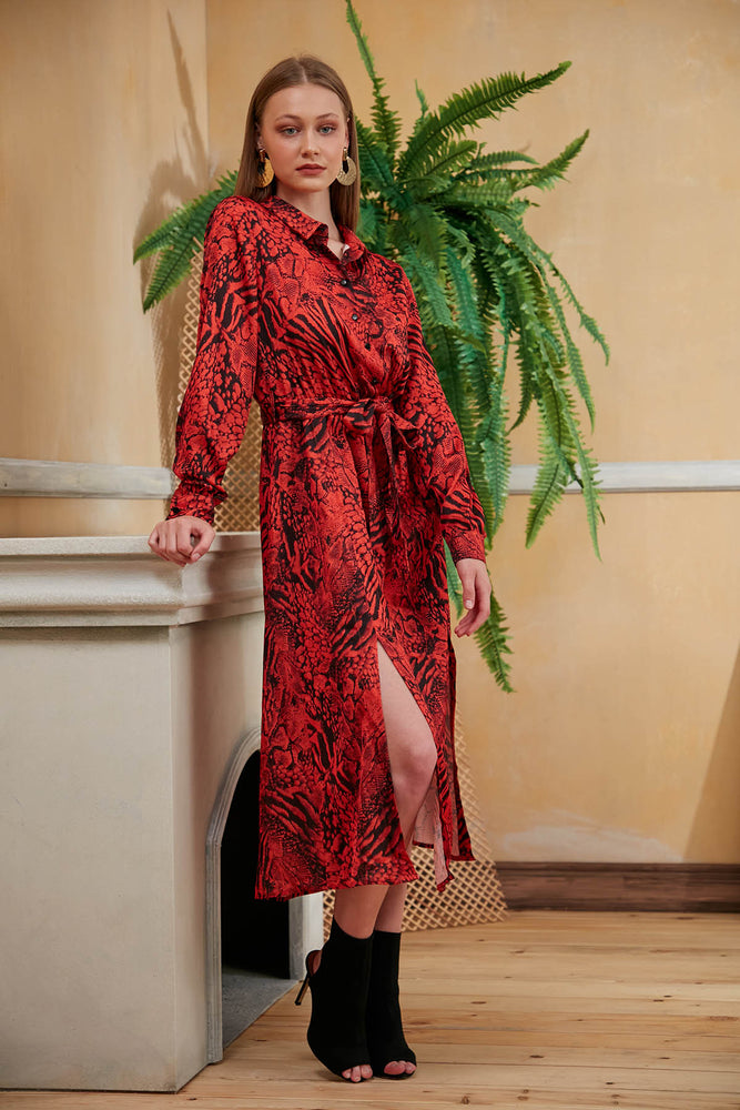 Valeria Animal Print Midi Shirt Dress in Red - Vercia Fashion Group
