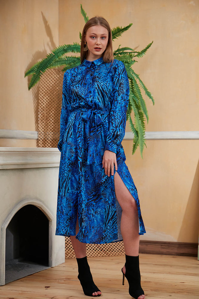 Animal Print Midi Shirt Dress in Bright Blue - Vercia Fashion Group