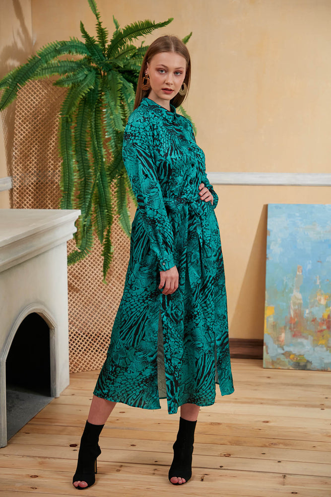 Animal Print Midi Shirt Dress in Emerald Green - Vercia Fashion Group