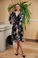 Black Floral Print Midi Dress - Vercia Fashion Group