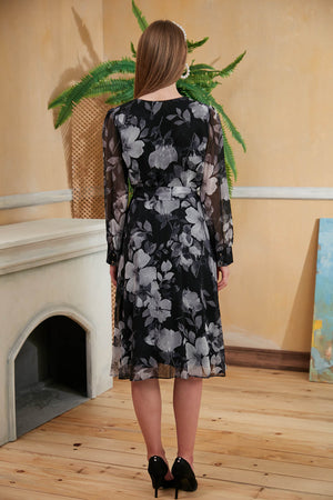 Load image into Gallery viewer, Black Floral Print Midi Dress