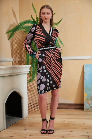 V Neck Satin Multiprint Knee length Dress - Vercia Fashion Group