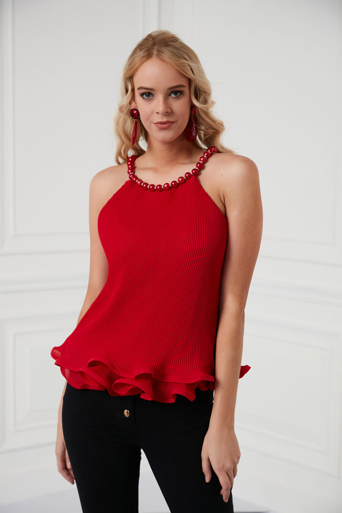 Pearl Necklace Top In Red - Vercia Fashion Group