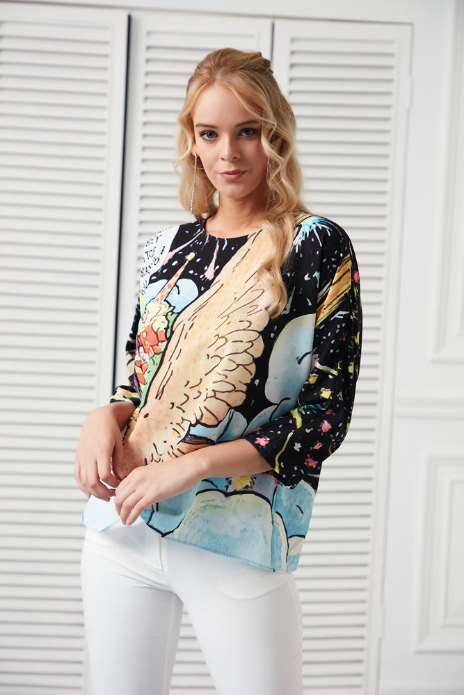 Space Print 3/4 Sleeves Summer Top - Vercia Fashion Group