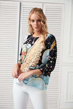 Space Print 3/4 Sleeves Top - Vercia Fashion Group