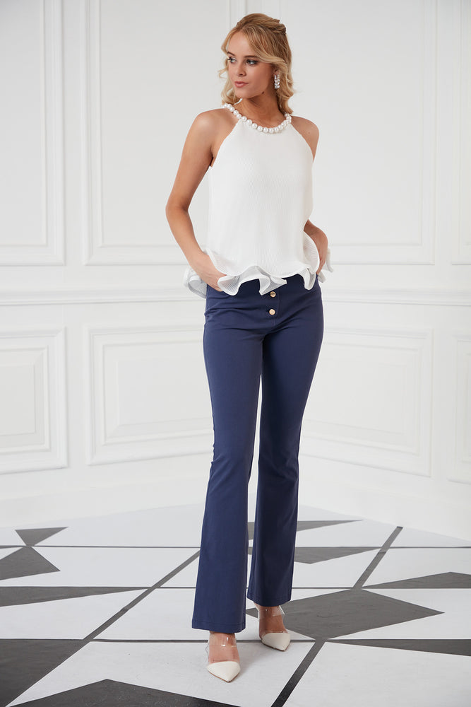 Pearl Necklace Top In White - Vercia Fashion Group