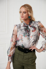 Organza Sleeves Blouse In Floral Print - Vercia Fashion Group