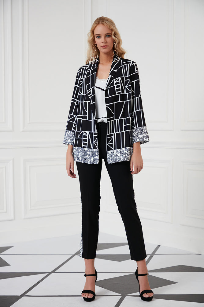 Black And White Elegant Trousers Jacket Set - Vercia Fashion Group