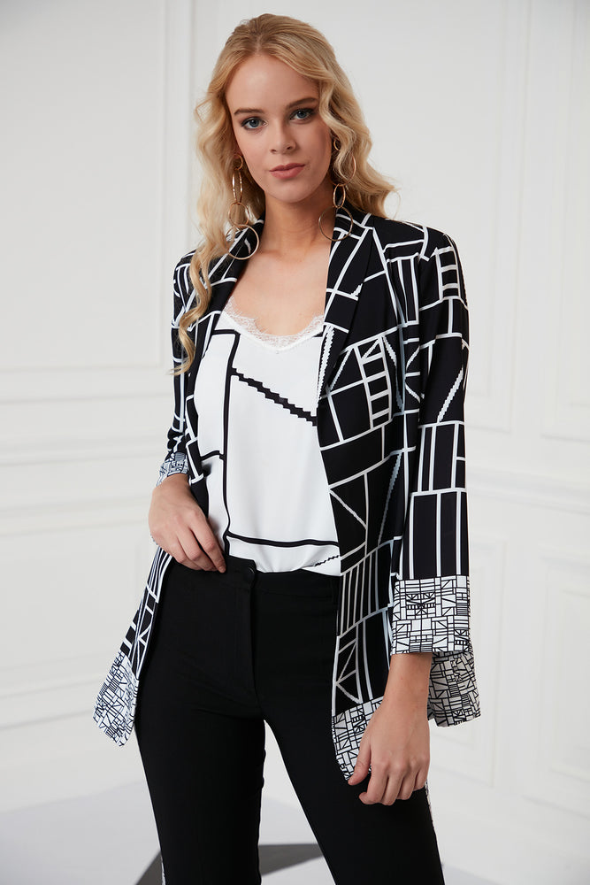 Load image into Gallery viewer, Black And White Elegant Trousers Jacket Set - Vercia Fashion Group