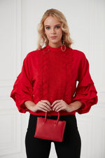 Frilled Sleeves Top In Red - Vercia Fashion Group
