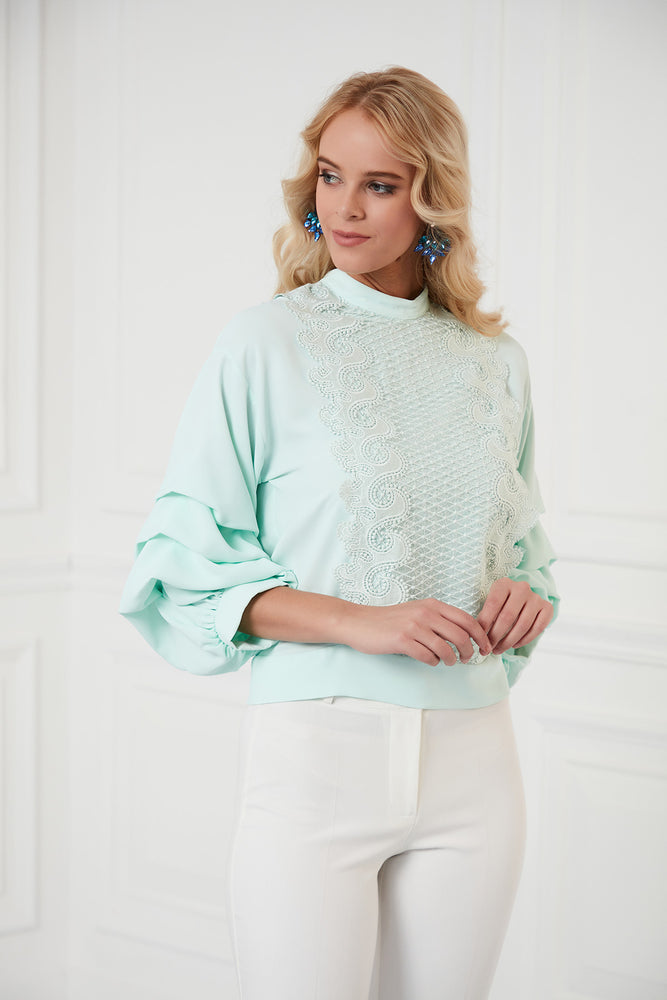 Frilled Sleeves Top In Mint Green - Vercia Fashion Group