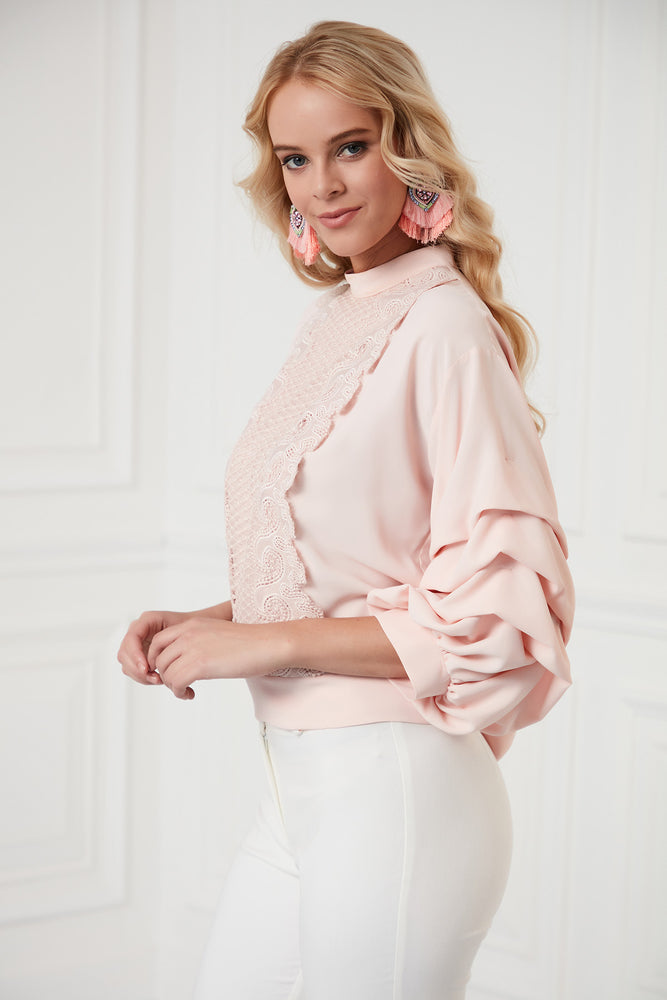Frilled Sleeves Top In Pink - Vercia Fashion Group