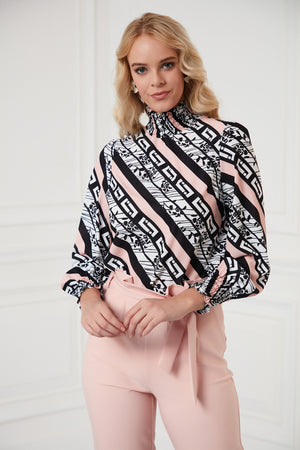 Load image into Gallery viewer, High Neck Pink Fashion Blouse - Vercia Fashion Group