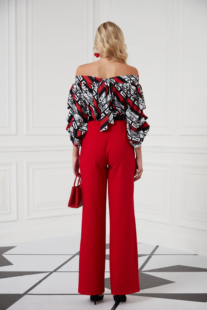 High Waist Wide Leg Trousers In Red - Vercia Fashion Group
