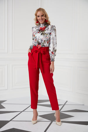 Ankle Length Trousers In Red - Vercia Fashion Group