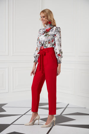 High Neck Blouse In Red Rose Print - Vercia Fashion Group