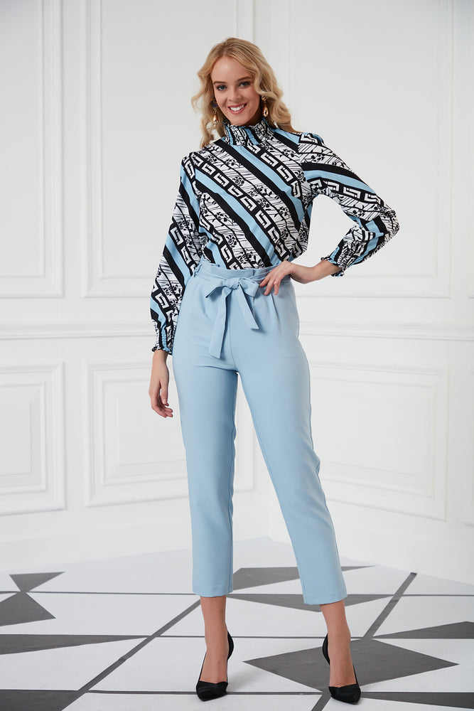 Ankle Length Summer Pants In Blue - Vercia Fashion Group