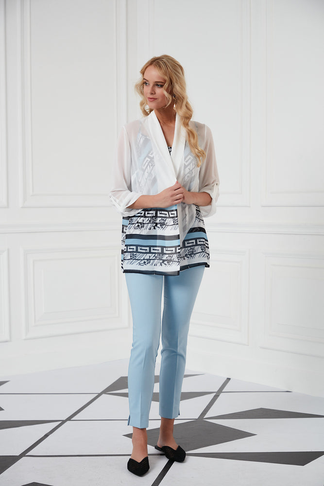 Load image into Gallery viewer, Sleeves Jacket In White And Blue Camisole Top Set - Vercia Fashion Group