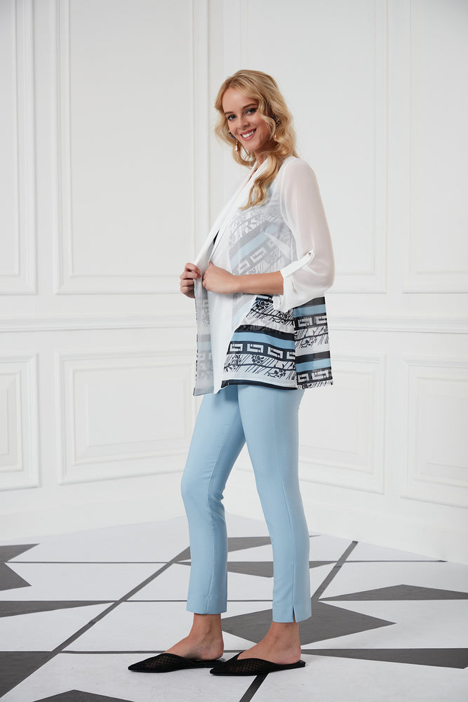 Sleeves Jacket In White And Blue Camisole Top Set - Vercia Fashion Group