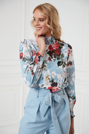 High Neck Blouse In Blue Print - Vercia Fashion Group