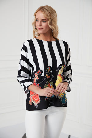 Comfortable Blouse With 3/4 Sleeves In Print - Vercia Fashion Group