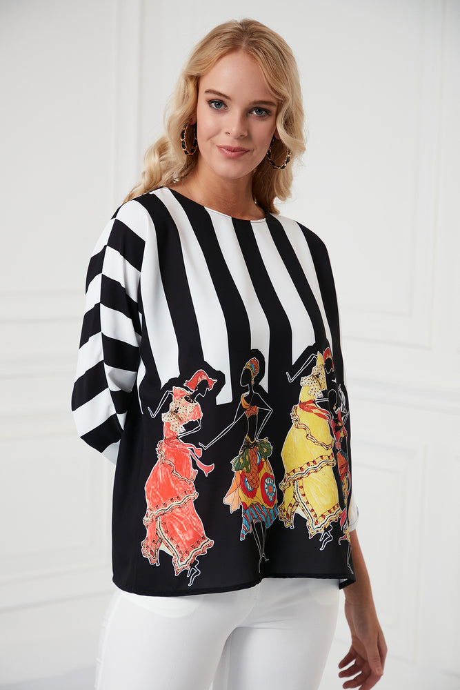 Load image into Gallery viewer, Comfortable Blouse With 3/4 Sleeves In Print - Vercia Fashion Group