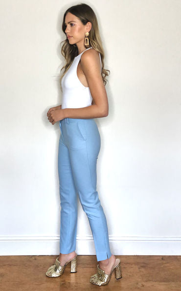 Slim Fit Summer Pants In Blue - Vercia Fashion Group