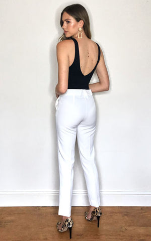 Ankle Length Slim Fit Trousers In White - Vercia Fashion Group