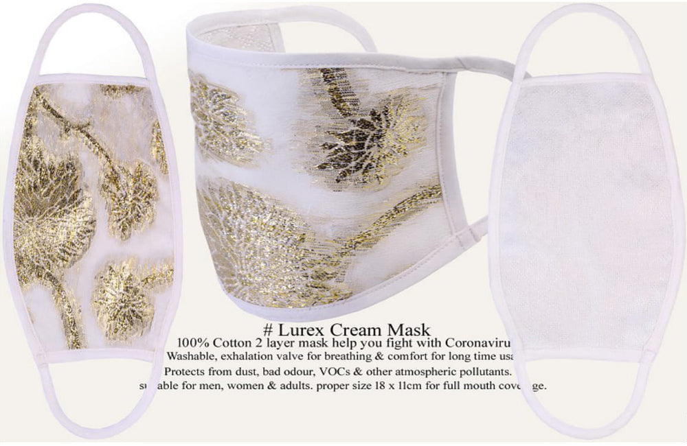 Load image into Gallery viewer, Vercia Designer Protective Face Mask Lurex Cream - Vercia Fashion Group