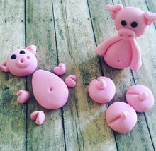 Load image into Gallery viewer, Edible Fondant Pigs Cake Toppers for Swimming Pigs in Kit Kat Barrel Cake