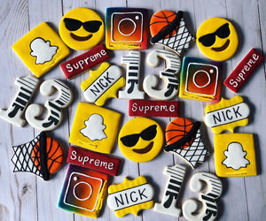 Custom Social Media birthday theme Cookies