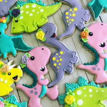Load image into Gallery viewer, Girl Dinosaur Cookies