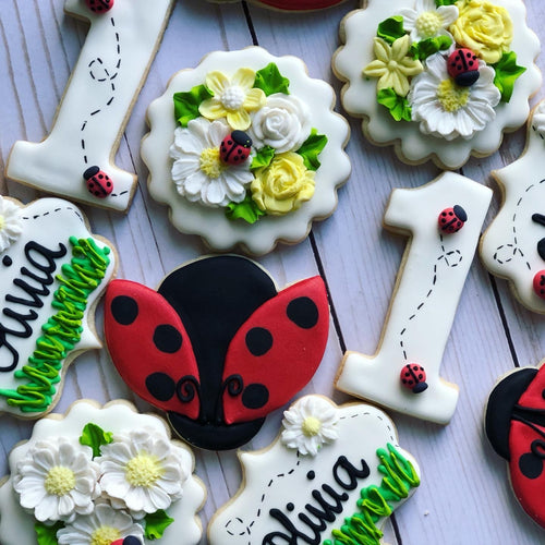 One year old ladybug Theme Cookies