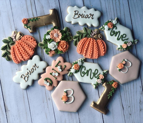 One year old pumpkin birthday Theme Cookies