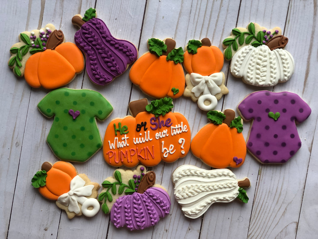 Pumpkin Baby shower cookies