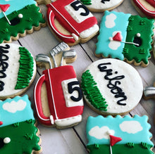 Load image into Gallery viewer, Red Golf theme cookies