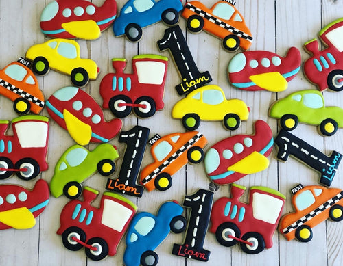 One year old Car Theme Cookies