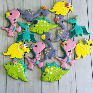 Girl Dinosaur Cookies
