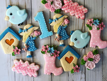 Load image into Gallery viewer, One year old birthday garden Theme Cookies
