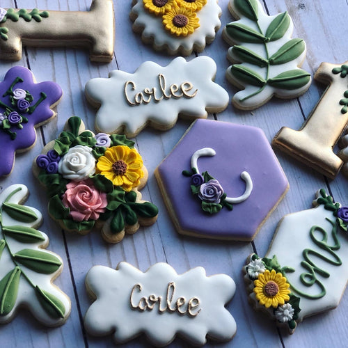 One year old sunflowers birthday Theme Cookies