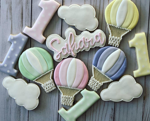 One year old birthday hot air ballon Theme Cookies