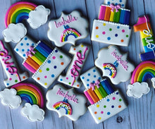 Load image into Gallery viewer, One year old rainbow birthday Theme Cookies