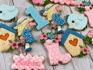 One year old birthday garden Theme Cookies