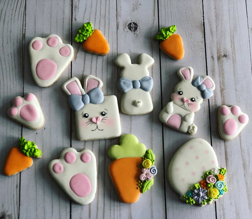 Easter cookies square bunny design