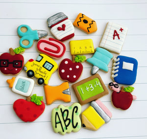 Mini School theme cookies